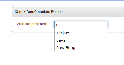item with autocomplete